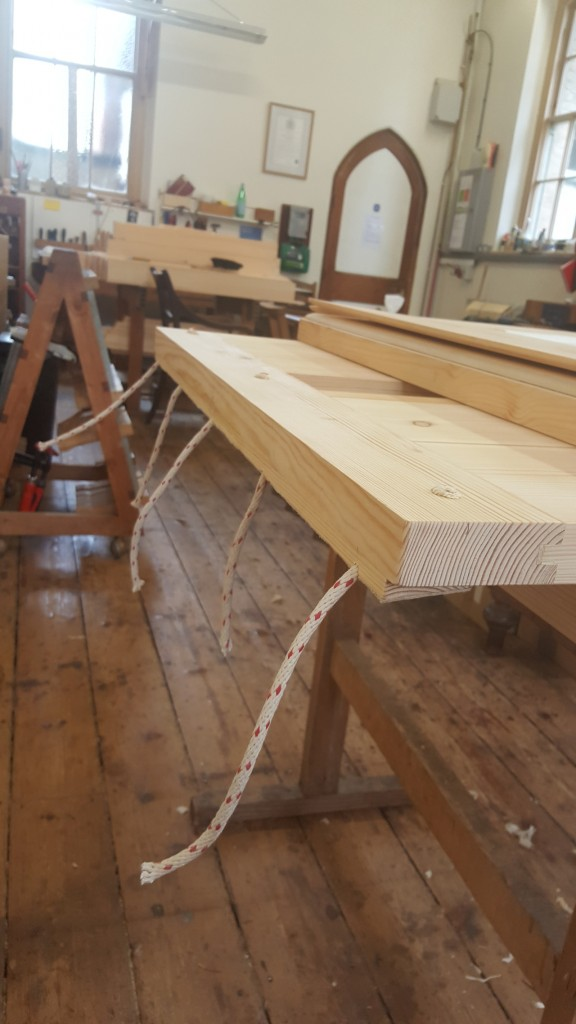 Chelsea Old Church - Bellows being given their rope hinges
